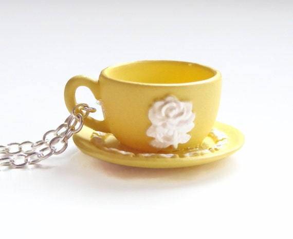 Miniature Yellow Teacup Necklace - Rose Motif