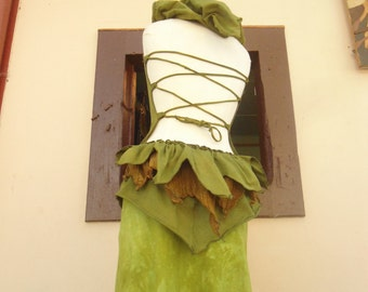 Leafy Green Hemp Organic Cotton Backless Hoodie Top with Gold Silk & Hemp Bustle OOAK