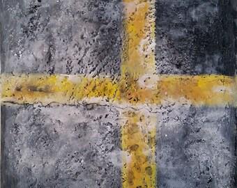 Journey:Road and Salt, original encaustic painting
