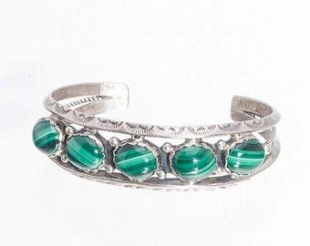 70's Cuff Bracelet - Navajo Malachite Row - H. Spencer - 34g - Best Buy