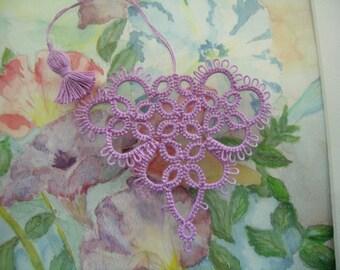 Valentine Tatting Lavender Heart Bookmark