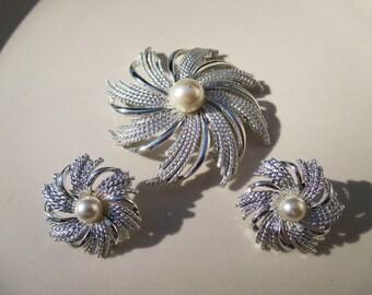 Vintage Sarah Coventry Pinwheel Brooch Earrings Set 1960