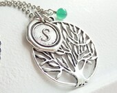 Vintage Style Tree of Life and Wax Seal Monogram Long Necklace
