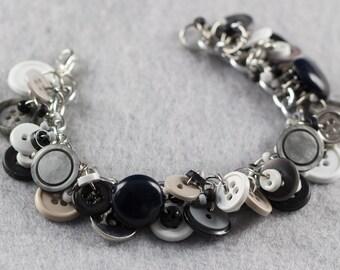 Button Charm Bracelet / Neutral Jewelry / Fun Gray Silver Black White Piece by randomcreative on Etsy