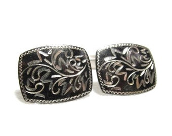Silver Cuff Links Etched Black Sterling Damascene