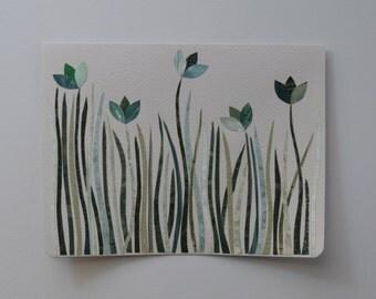 Green Garden Note Card, OOAK, Original Hand Cut Vintage Wallpaper, Spring Green, Wildflowers, Summer, Sympathy, Friendship, Easter, Flowers