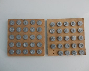 VINTAGE collection of NUMBERED TACKS (2 sets - numbers 1 - 25)