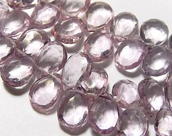 Pink Quartz Gemstone. Faceted Pear Briolette, 13-15mm.   Semi Precious Gemstone. Packet of 2. (0qzp1)
