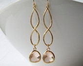 Peach Infinity Drop Earrings