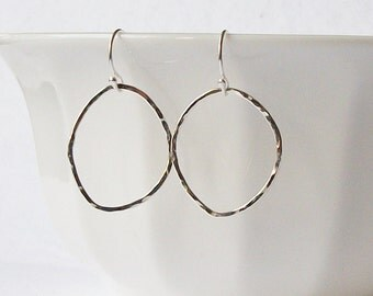 Sterling Silver Handmade Circle Eternity Dangle Earrings