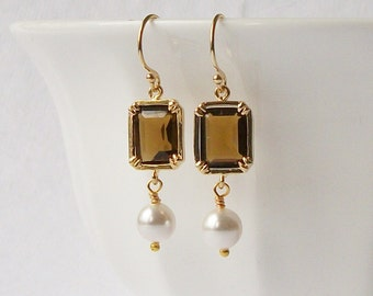 Topaz Brown Crystal Pearl Dangle Earrings