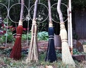 Ceremonial Witch's Broom  in your choice of Natural, Black, Rust or Mixed Broomcorn - Magical Broomstick - Witch Besom