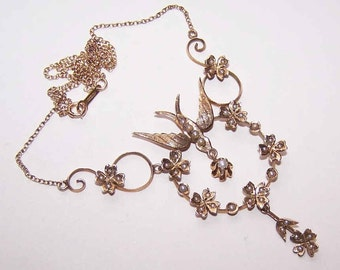ANTIQUE EDWARDIAN 14K Gold & Natural Pearl Necklace with Saint Esprit/Swallow/Sparrow