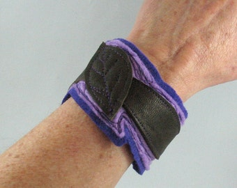 Felt and Leather Cuff Bracelet, Purple and brown
