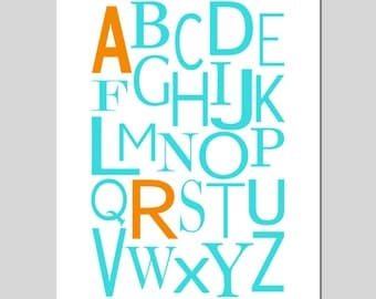Alphabet Initial Monogram Print - 11x14 - Modern Nursery Art  - Kids Wall Art - Customize with Your Initials and Colors