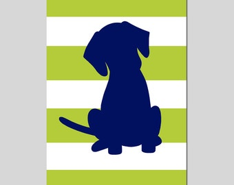 Stripe Labrador Puppy Dog Silhouette Print - 11x17 Modern Nursery Wall Art - CHOOSE YOUR COLORS - Shown in Citron Green, Navy Blue, and More