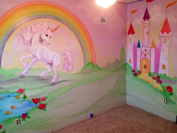 Estimate for unicorn art castle murals kids rooms art - Dessin mural chambre fille ...