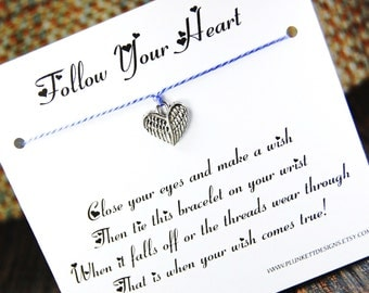 Follow Your Heart - Wish Bracelet - (Angel Wings) - Shown In The Color PERIWINKLE  - Over 100 Different Colors Are Also Available