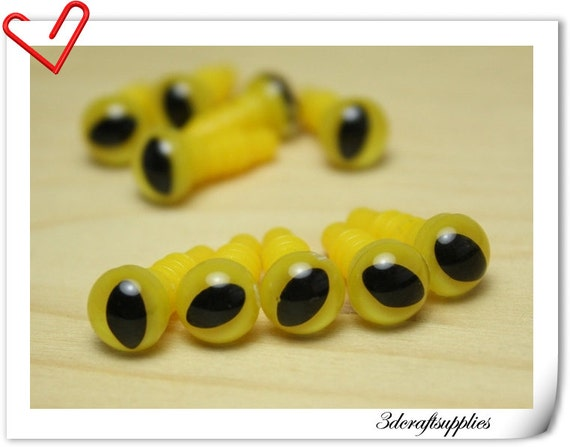 Safety Eyes Amigurumi Malaysia : 8 mm olive CAT Eyes Yellow Safety eye amigurumi eye doll