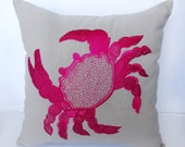 Hot Pink Crab embroidery on Gray pillow cover -18 inch- Sea themed Pillow - Nautical 1 in Stock