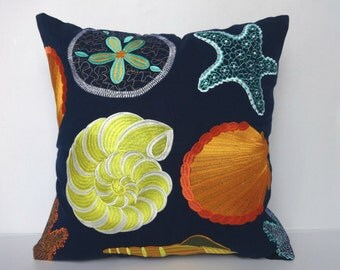 Navy Blue Sea themed pillow cover  with colorful sea life embroidery   throw pillow cover. beach pillow. 16 x 36 inches
