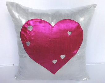 """VALENTINE GIFT PILLOW- Metallic Silver pillow with  Silver heart applique -18""""x 18"""
