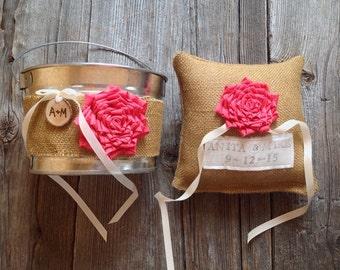 Personalized Ring Bearer Pillow, Flower Girl Pail, Ring Pillow, Flower Girl Basket, Coral Weddng, Burlap Wedding, Burlap Pillow, Bucket