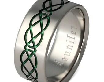 Titanium Irish Celtic Wedding Band - Green Celtic Ring - ck19