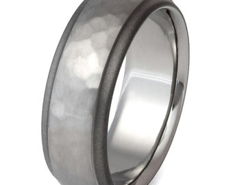 Hammered Titanium Wedding Band - Hammer Ring - Handcrafted Titanium - His and Hers - sa25