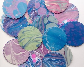 "30+ Hand Marbled  3 1/2"" Scalloped Circles - Gift Tags - Cardmaking - Craft Projects - LAST ONE"