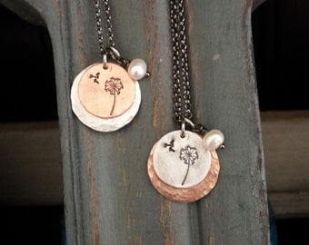 Mixed Metal Dandelion Wish Custom Hand Stamped Hammered Copper & Aluminum Layered Round Tag Necklace with Freshwater Pearl by MyBella