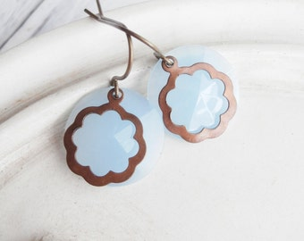 Pale Blue Earrings - Geometric Layered Earrings