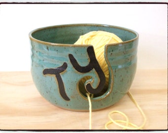 Made to Order-Beautiful Turquoise Yarn Bowl with Initial Letters by misunrie