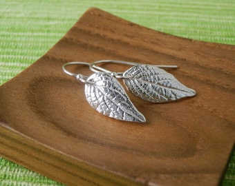 Small Pineapple Sage Leaf Earrings - Pure Silver Dangle Leaf Earrings, Everyday Earrings, Herb Jewelry