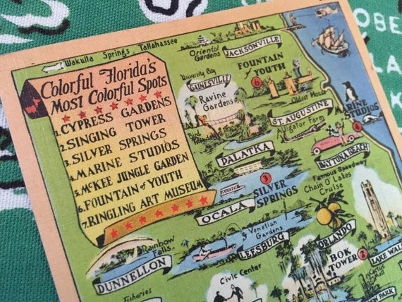 Vintage Florida postcard map of tourist by 3floridagirls on Etsy – Map Of Florida Tourist Attractions