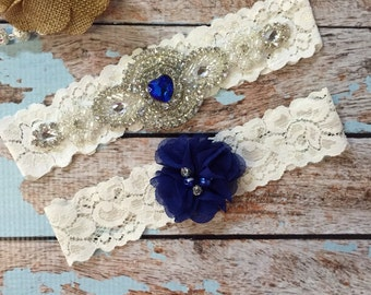Sapphire Wedding garter / Lace garter SET / bridal  garter / vintage lace garter / something blue / toss garter / wedding garter/ royal blue