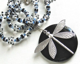 Large Dragonfly Necklace - Black Onyx, Silver Dragonfly, Nature Jewelry
