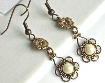 Pearl Filigree Earrings - Dainty Earrings, Brass Earrings, Flower Earrings
