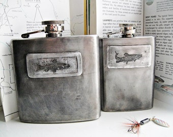 Gone Fishin' Batch No. 6  Flasks in Etched & Embossed TROUT Designs