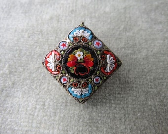 Colorful Millefiori Micromosaic Brooch / Italy