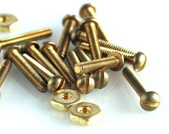 Mini Brass Round Head Screw and Nut 20 sets