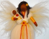 Christmas Angel, Winter Fairy, African American, Christmas tree top, Flower Doll with Baby, Nursery, Blessing, Waldorf, l, needle felted