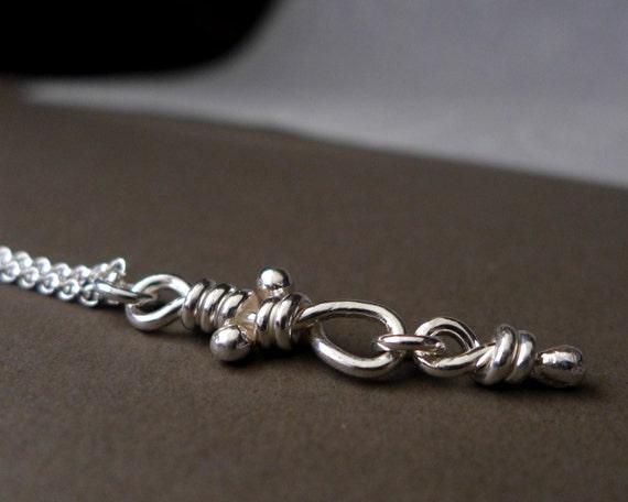 Nodo Knot Pendant, Sterling Silver Rustic Necklace, Organic Knots, Bohemian Knot Jewelry, Rustic Silver Pendant, Handmade Aroluna