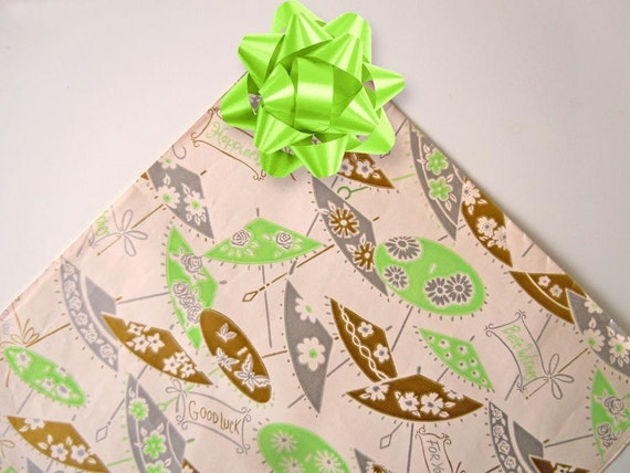 Wedding Gift Wrapping: 1960s Bridal Shower Gift Wrapping Paper Chinese By