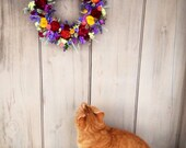 Handmade colorful spring dried flower garden wreath . A sweet Mother's Day gift .Cat not included.