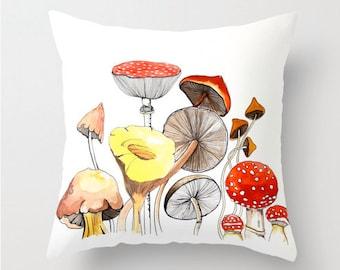 Mushrooms, Pillow cover, room decor, woodland