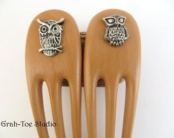Owlie Hair Forks, Hairforks, Wood Hair Fork, Mini Pair Hair Forks ,Owls, Grahtoe Studio, GTS Hair Art,Handmade Wood Hair Accessory
