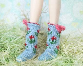 jiajiadoll- Hand Knit- sky blue flower bowknots socks fits momoko- blythe -Misaki- Unoa light- Lati yellow