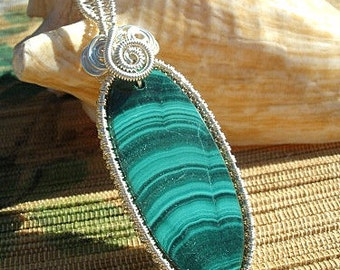 Malachite wire wrapped pendant green black banded gemstone handmade large bail