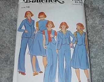 Vintage--Butterick Pattern--4660--Size 16--Misses Jacket-Vest-Skirt- & Pants--Unused--Uncut